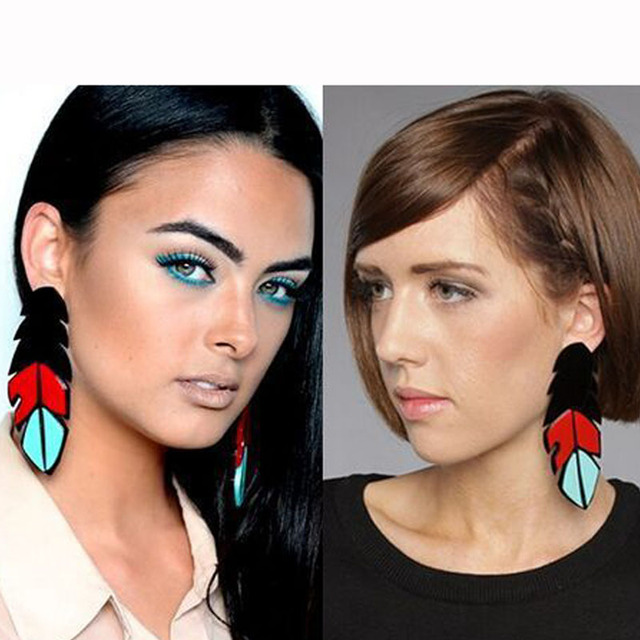 Simple Black Feather Earrings