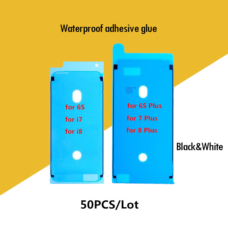 50PCS Waterproof Adhesive Sticker Front Housing Pre-Cut Glue Front Screen LCD Frame Tape for iPhone X 8 plus 7 7 Plus 6S 6S Plus