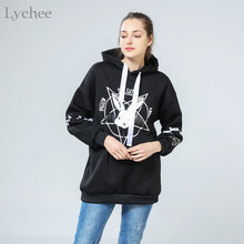 Lychee Harajuku Lolita Style Women Sweatshirt Rabbit Pentacle Print Lace Up Hoodies Casual Loose Long Sleeve