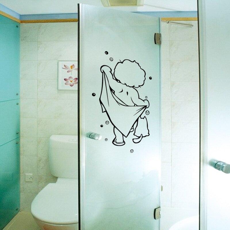 1pcs cartoon art wall stickers vinyl decals wallpaper bathroom window glass  poster house diy home accessories. Vinyl Bathroom Window Curtain  Bathroom Medium Size Frosted Window