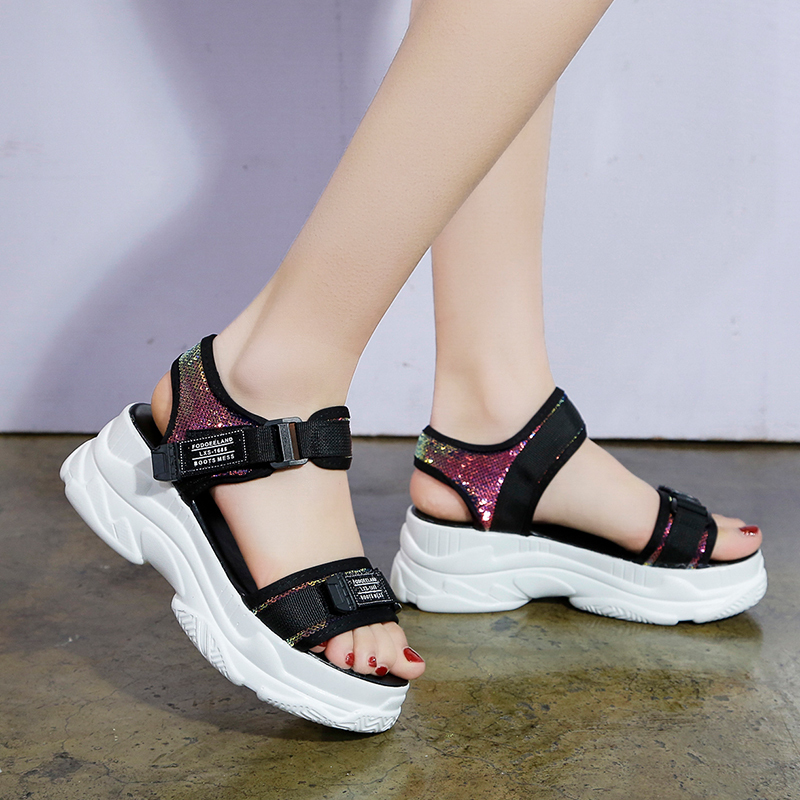 HTB1G9nqd2WG3KVjSZFPq6xaiXXaz - Fujin Summer Women Sandals Buckle Design Black White Platform Sandals Comfortable Women Thick Sole Beach Shoes
