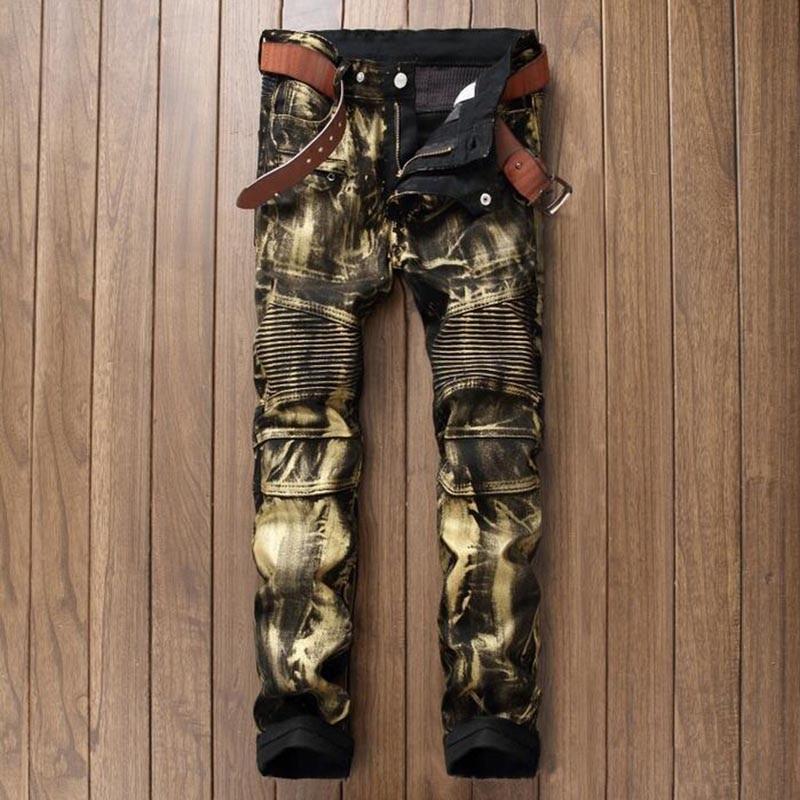 Brand Designer Mens Biker Jean Trousers Hi Street Slim Fit Painted Denim Joggers Male Straight Pleated
