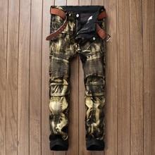 Brand Designer Mens Biker Jean Trousers Hi-Street Slim Fit Painted Denim Joggers Male Straight Pleated Moto Jeans Pants Q2570/
