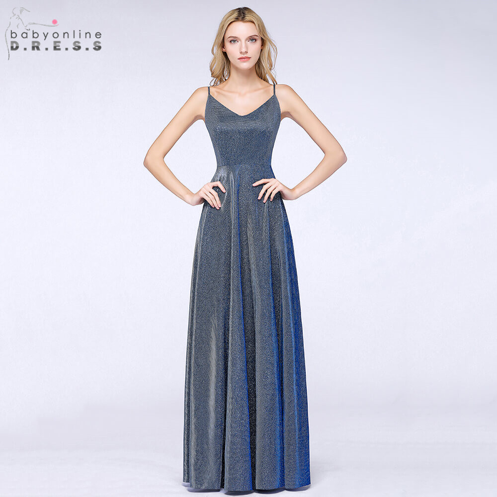 Robe de Soiree Sexy Open Back Bright Silk Long Evening Dress 2019 Spaghetti Strap Reflective Evening