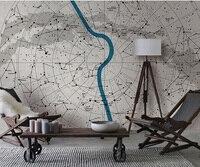Bacaz Buitenste Ruimte Blauwe lijn Papel Muurschildering Kaart 3d Behang Mural voor Baby Kamer Achtergrond 3d Wall Mural papier 3d Muur sticker