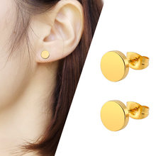 2018 1Pair Punk Double Sided Round Titanium Steel Earrings Men Women Black Gold-color Fake Ear Plugs Gothic Barbell Stud Earring(China)