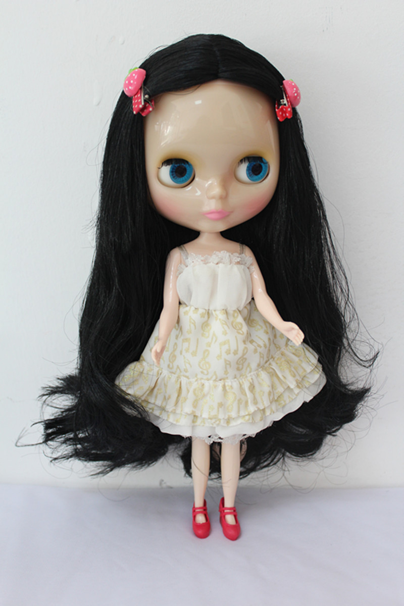 Blygirl Blyth doll transparent skin black hair nude doll ordinary body 7 with joint replacement joints can body free shipping blyth doll nude dolls colorful bangs hairy multi joint body 19 joint joints can be rotated to send hand group
