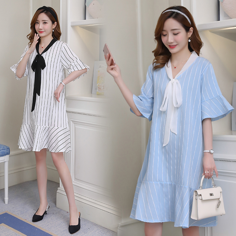 Maternity Dress Striped Preppy Style Pregnancy Clothes Fashion Patchwork Chiffon Maternity Clothing Of Pregnant Women