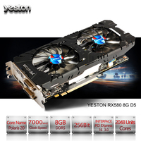 Yeston Radeon RX 580 GPU 8GB GDDR5 256bit Gaming Desktop computer PC Video Graphics Cards support DVI/HDMI PCI E X16 3.0