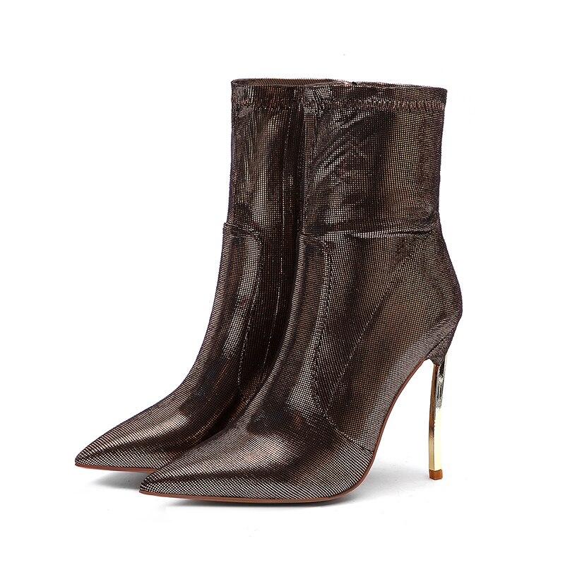 Rxemzg élégant velours bottes femmes bottines talons hauts bottes courtes zipper 2019 or métal talon stretch chaussures grande taille 34 45-in Bottines from Chaussures    3