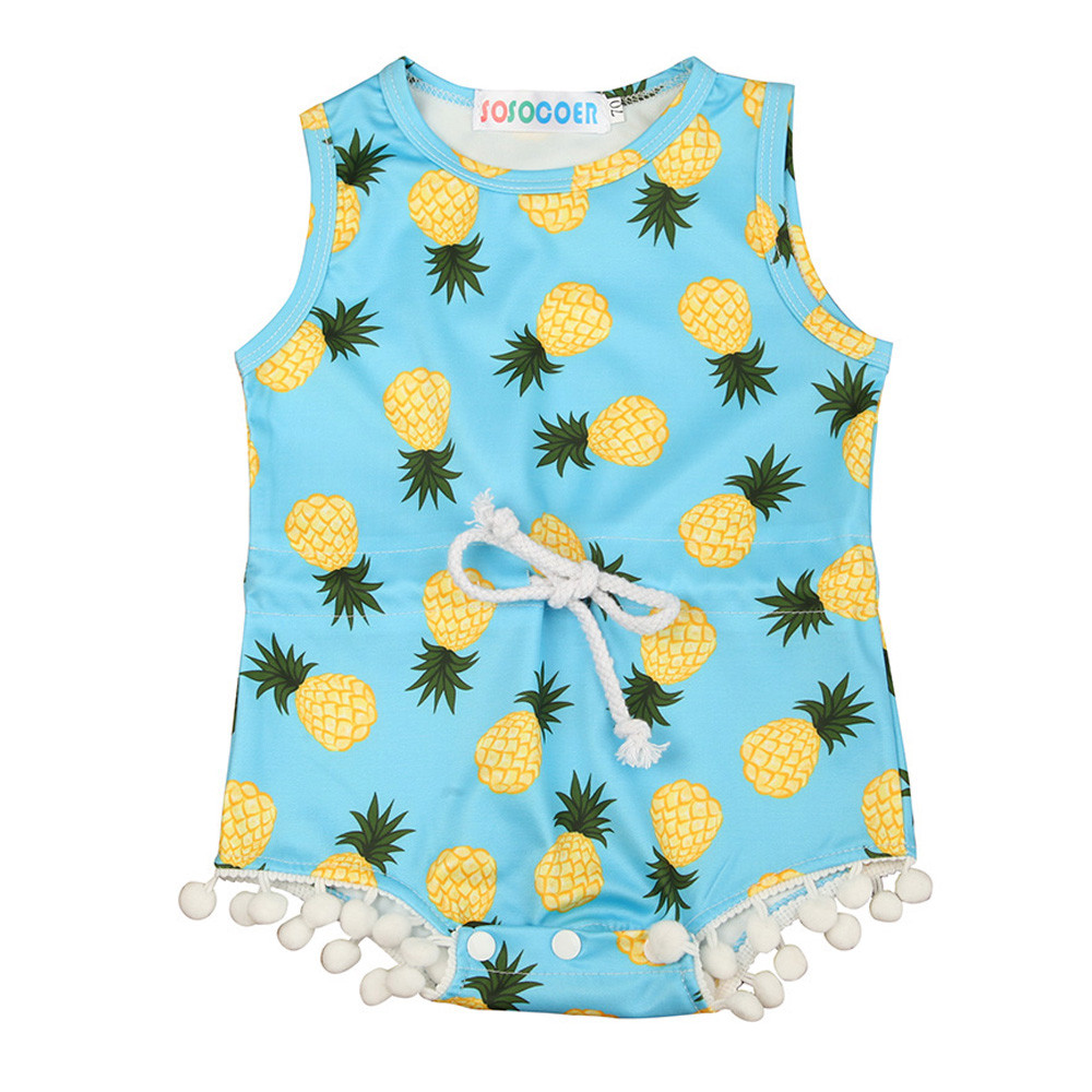 2019 Fashion baby Newborn Infant Baby Girl Lacing Pineapple Romper Jumpsuit Sunsuit Clothes Outfit