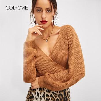 Khaki V-Neck Wrap Knot Surplice Crop Sweater