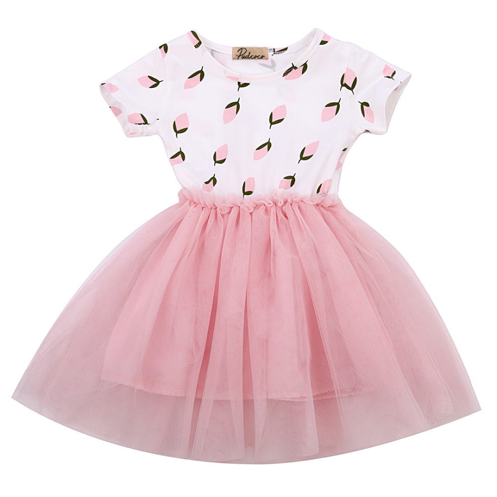 2017 Fashion Baby Kids Girl Dress Shell Polka Dot Lace Short Sleeve Tulle Tutu Party Gown Princess Formal Dresses Summer Dress retail fashion summer girl dress sleeveless kids dresses for girl tutu party dress lace polka dot novatx brand girls clothes