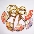 2016 Fashion Carefully Carved Cute Fan KeyChain Bag Chain Charming Keychains KeyRing Wood ChainRing