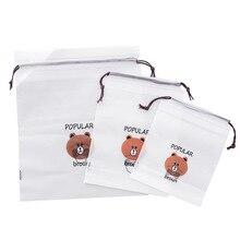 3 PCS Portable Travel Cosmetics Bundle Pocket Cartoon Brown Bear Drawstring Waterproof Portable Dust Storage Bag Finishing Bag