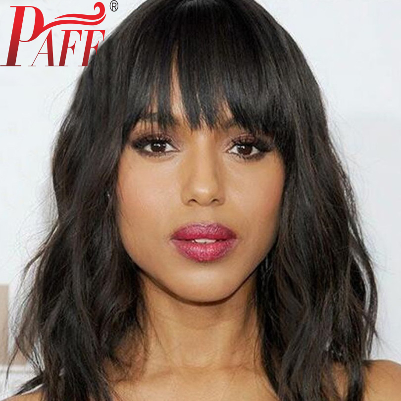 PAFF Bob Wavy Full Lace Human Hair Wig With Bangs Brazilian Remy Hair Natural Color Free Part Short Wigs With Natural Hairline