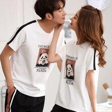 Fashion Lover Pajamas Set Summer Cotton Men Cartoon Short Sleeve Women Sleepwear Two-piece suits Couple home clothes