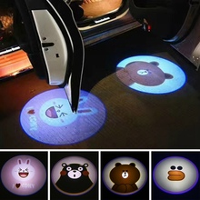 2PCS Car Shadow Door Light  Cartoon Wireless Laser Projector Logo Led Welcome Lamp For Mini Cooper Car-styling Accessories
