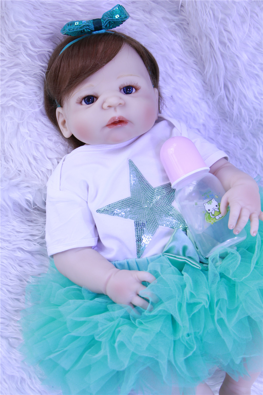 Beautiful blue eyes Silicone Vinyl Reborn Baby Girl soft alive Newborn Babies Doll rooted hair Ethnic bebe Toddler toy For kids Beautiful blue eyes Silicone Vinyl Reborn Baby Girl soft alive Newborn Babies Doll rooted hair Ethnic bebe Toddler toy For kids