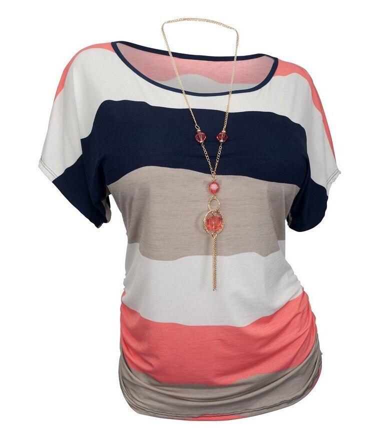 Women T Shirt Summer Striped Contrast Color Print Tops Short Sleeve ... baf61c2c2de2