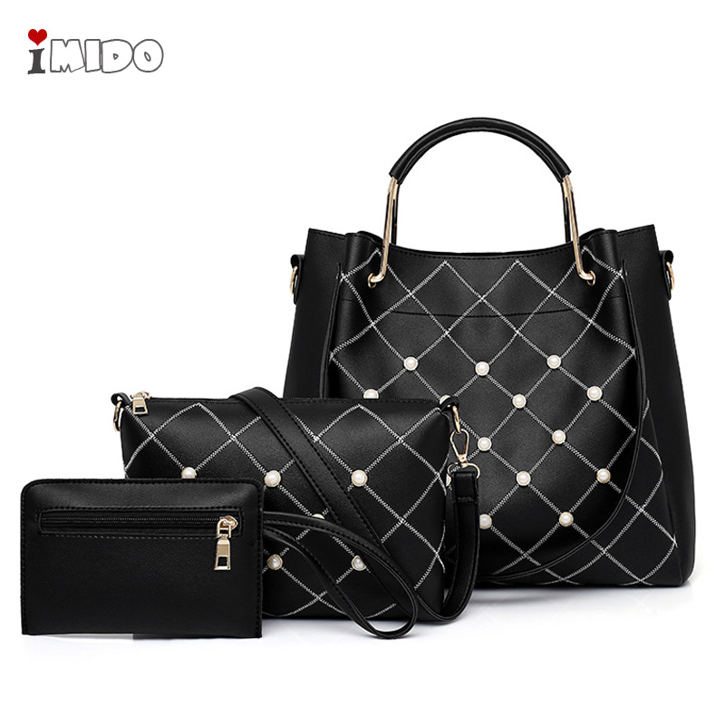 Female 3pcs sets PU Pearl Handbags for Women Quilted Leather Fashion Geometric Diamond Shoulder Bag Ladies