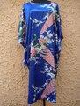 Royal Blue Female Silk Rayon Robe Down Summer Sexy Casual Nightgown Home Dress Novelty Yukata Bath Gown Plus Size 6XL S002-D