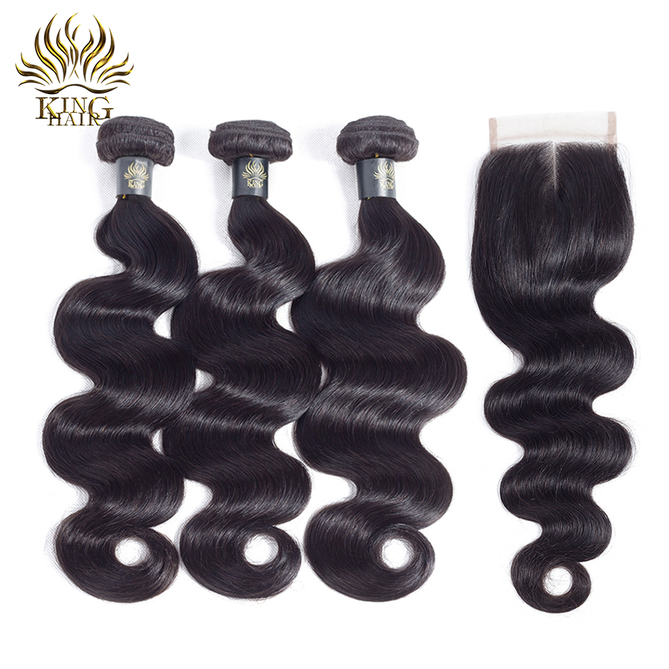 King Hair Peruvian Hair Bundles With Closure Body Wave 3 Bundles Med - Menneskehår (sort)
