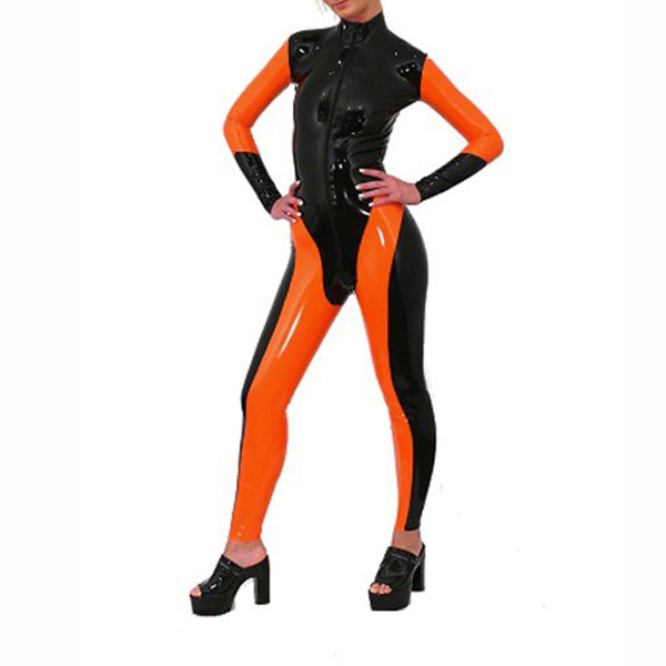 Femmes Latex portant Sexy Latex collants Catsuit couleur contraste Latex caoutchouc Zentai