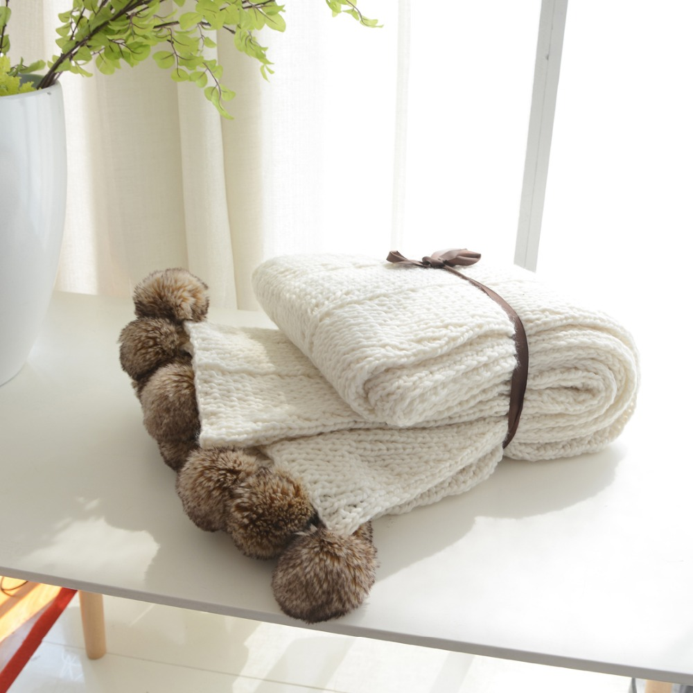130x160cm 100 cotton cable knit throw blanket super soft warm white color fluffy blanket ins - Cable Knit Throw