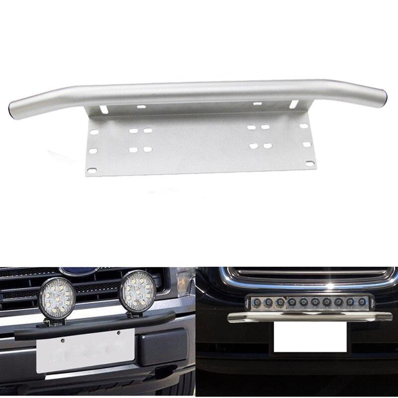 Front Bumper Bull Bar License Plate Mount Bracket Holder Offroad Day Light Bar For Off-Road Day Light LED Work Lamps Chrome