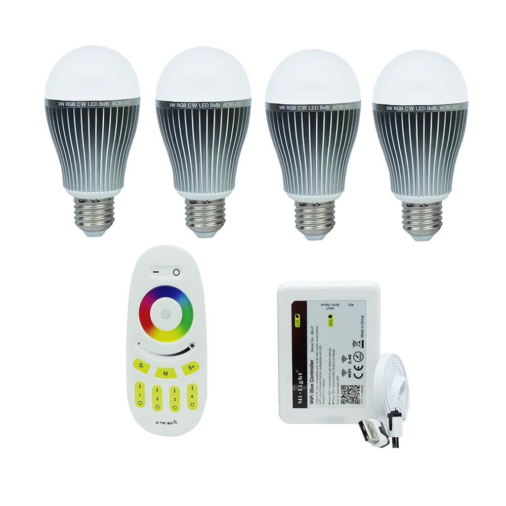 9W Four zone RGBW Mi-light Dimmable E27 Smart Led Lampada led bulbs+RF Touch Scree remote controller + 2.4G Wireless Wifi iBox smart zone