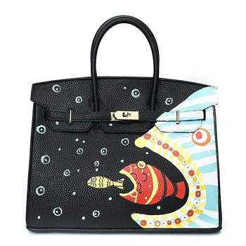 Graffiti Custom Women Messenger Bags Hand Painted bags painting Fish Eat Fish totes 50CM gold hardware loverly Female bags