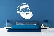Cute Santa Claus Head Wall Mural Merry Christmas Holiday Special Sticker Home Nursery Room Decor Free Shipping Q-10
