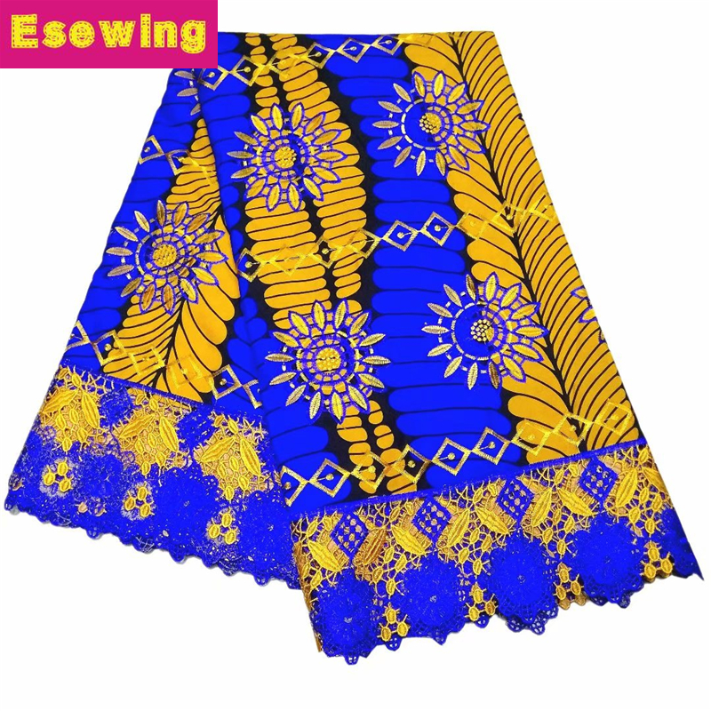 Nice Guipure Real Wax With Lace High Quality Embroidered Wax Lace Fabric With Stones African Lace Fabric Wax For Nigerian Cloth