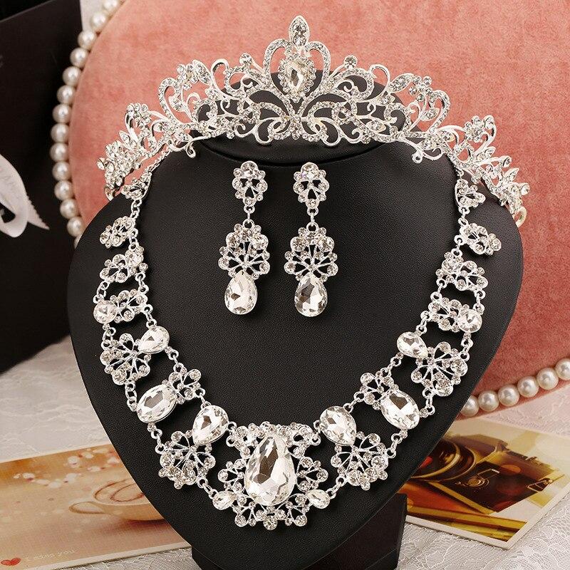 3 pcs liga tiara de strass conjuntos de colar brincos de três peças  conjuntos de jóias de casamento cdbf611880