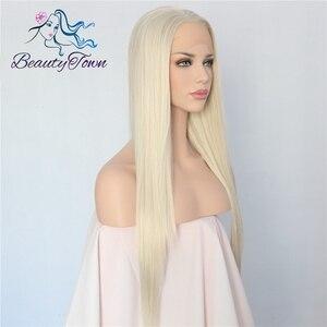 Image 4 - BeautyTown 手縛らライトブロンドカラーロングストレート耐熱毛女性の結婚式合成レースフロントウィッグ