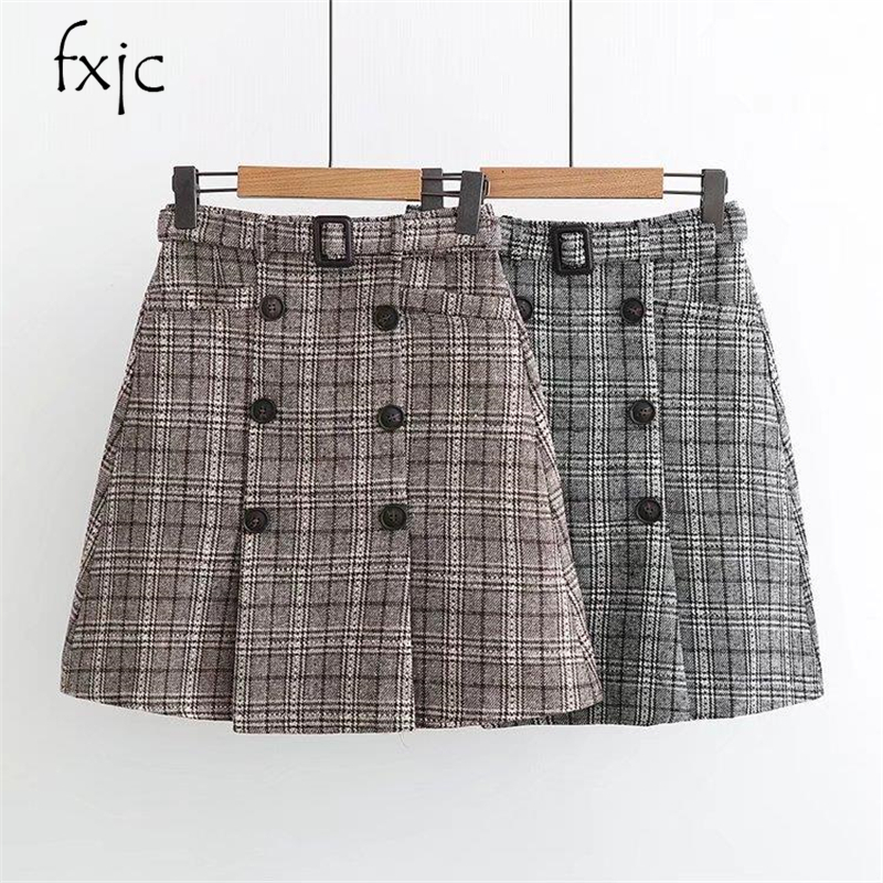 Skirts Discreet 2018 Autumn And Winter Women Double Breasted Lattice Woolen Skirt Zr187 Fragrant Aroma