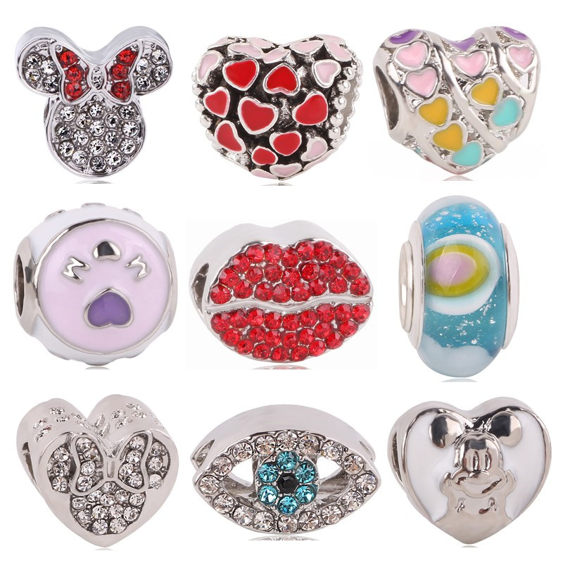 AIFEILI 2018 Valentines Day Collection Jewelry Silver Color Pink Red Heart Zircon Bead Fit Original Pandora Charm Bracele