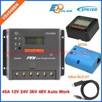 Vs4548bn 45a 48 В солнечный pv зарядки аккумулятора жидкокристаллический дисплей Контроллер Bluetooth Функция mt50 метр и кабель USB