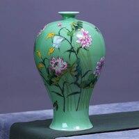 Цзиндэчжэнь керамическая ваза ручной работы Гончарная Ваза вазы Цвет Тени рифма цветок лотоса номер украшения