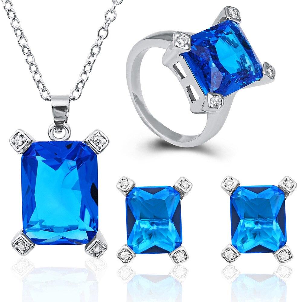 02ed0fdcc479 Clásico cristal 925 plata esterlina Juegos de joyería forma cuadrada  neckalce Pendientes anillo conjunto declaración joyas para las mujeres