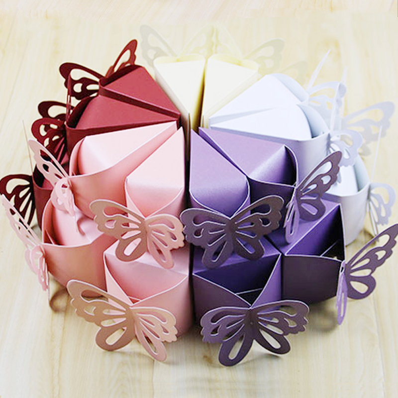 10pcs/lot Butterfly Shape Wedding Candy Box Birthday Wedding Party Favors Gifts Bag Creative Cake Box Baby Shower Party Decors