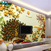 Beibehang High Grade 3D Stereo Jade Carving Peony Peacock Open Screen TV Background Wall Custom Wallpaper