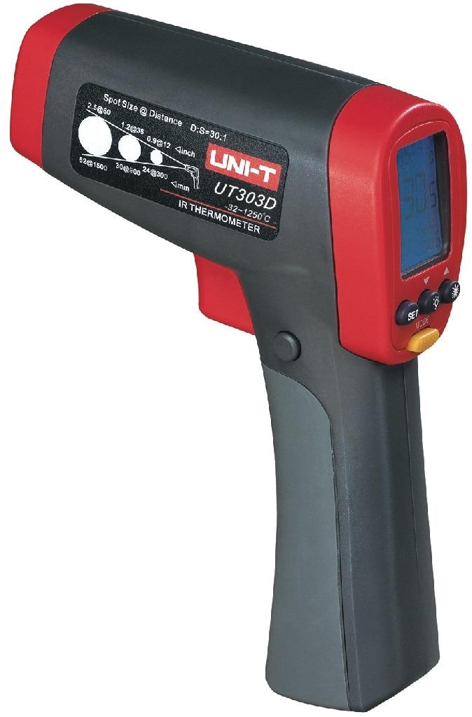 Uni-t UT303D Handheld temperatura Gun Digital IR Laser infravermelho termometro D: S = 30: 1 e temp. (-32 ~ 1250C)