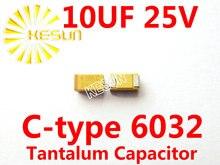 10 МКФ 25 В C тип 2312 6032 106E SMD Тантал Конденсатор Разъем TAJC106K025RNJ x500PCS