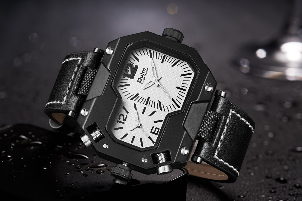 OULM Fashion Oversize Quartz Watch Men 2 Time Zone Display Unique Rectangle Dial Deisgn Leather Strap Creative Casual Wristwatch 10
