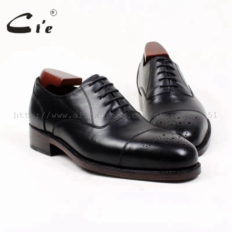 cie Free Shipping Custom Handmade Goodyear Welted Genuine Calf Leather Upper Outsole Men's Dress Oxford Color Black Shoe OX393 ems free shipping to avoid the customs duty custom handmade pure genuine calf leather men s dress oxford color red shoe no ox66