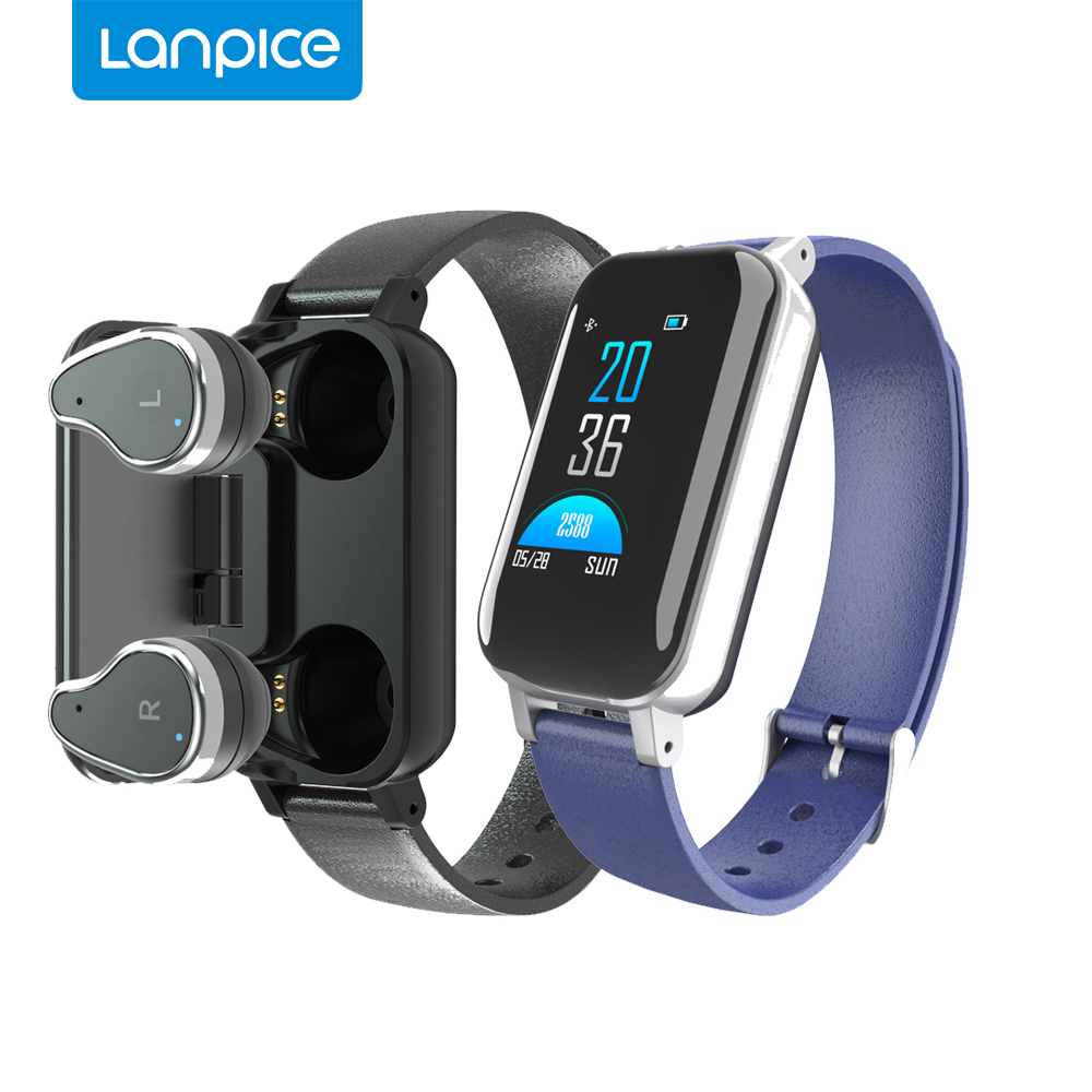 Lanpice <font><b>T89</b></font> <font><b>TWS</b></font> AI Smart Watch With Bluetooth Earphone Heart Rate Monitor Smart Wristband 15 days Standby Sport Watch Men/Women image