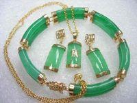 natural Green gem Earring Pendant Bracelet earring Pendant Bracelet Set Fine Plated Bridal wide watch wings queen