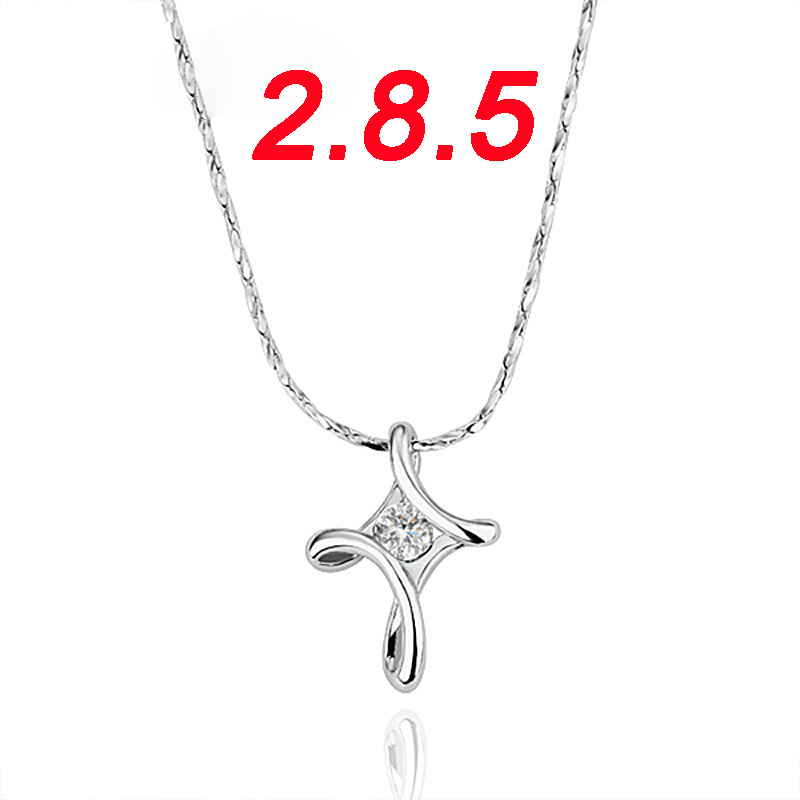 2017 Trendy Silver Color Crystal CZ Christian Juses Cross Pendant Necklace for Women/Men Silver Cross Crystal Necklace Jewelry